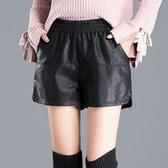 皮短褲女高腰2019新款闊腿潮松緊腰寬松時尚百搭顯瘦皮褲a字外穿