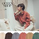 Queen Shop【01023587】休閒素色燈心絨排釦長袖襯衫 六色售*現+預*