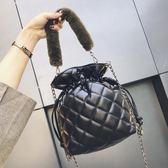 小包包女百搭斜挎菱格鍊條單肩時尚手提水桶包
