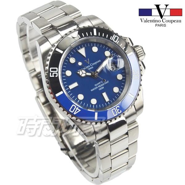 valentino coupeau范倫鐵諾 不鏽鋼 防水手錶 男錶 潛水錶 水鬼 石英錶 日期視窗 V61589B藍