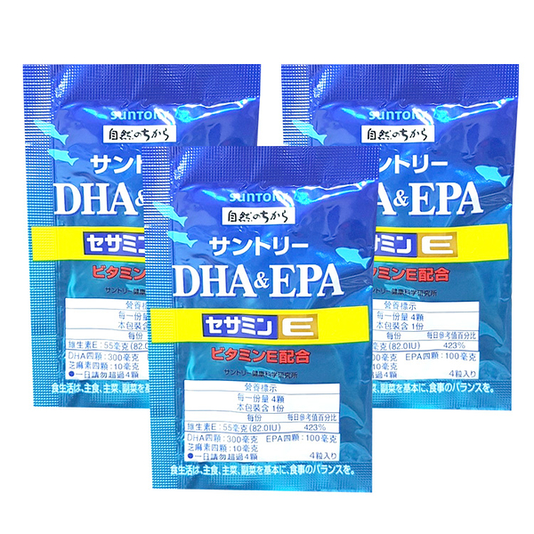 三得利 魚油DHA&EPA+芝麻明E 4粒入*3包入【德芳保健藥妝】