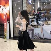 法式收腰網紗燈籠袖吊帶絲絨一字肩連身裙新款露肩小黑裙