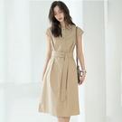 法式翻領繫帶收腰短袖連身裙洋裝韓版【80-16-8Z3124-21】ibella 艾貝拉