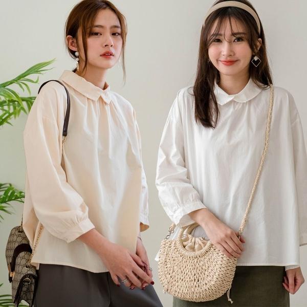 MIUSTAR 後釦式襯衫領七分袖傘襬棉麻上衣(共3色)【NJ0402】預購