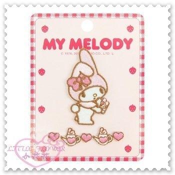 ♥小花花日本精品♥《Melody》美樂蒂 燙布貼 側站 抱娃娃 茶壺 愛心 草莓 粉色 日本製 57029009