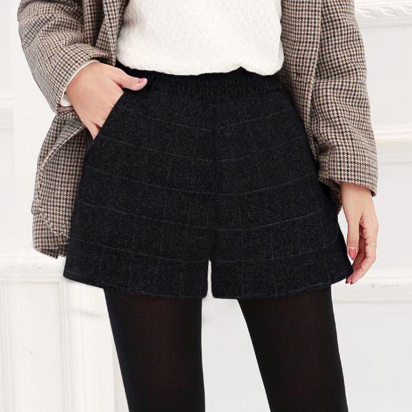 短褲女冬款2018新款韓版百搭寬鬆高腰闊腿毛呢夏季春秋季外穿靴褲