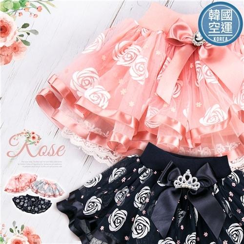 韓國童裝~玫瑰澎澎蛋糕蕾絲紗短裙-3色-限量特賣(270374)【水娃娃時尚童裝】