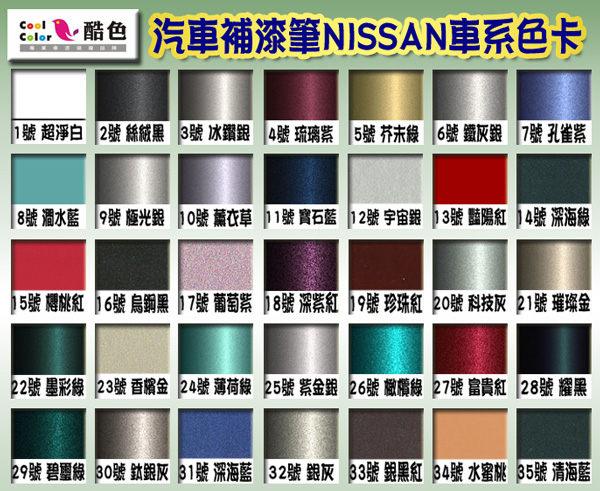 NISSAN 裕隆汽車專用-A組,酷色汽車補漆筆,各式車色均可訂製,車漆烤漆修補,專業色號調色