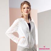 【SHOWCASE】甜美蕾絲開岔袖運動風小外套(白色)