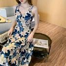 雪紡碎花吊帶連衣裙女2021夏季新款氣質海邊度假修身性感長款裙子