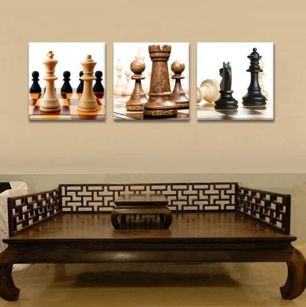 熱賣三聯畫 現代裝飾畫 版畫掛畫 無框畫壁畫 國際象棋 1105