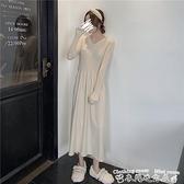 新款洋裝秋冬裝新款配大衣長款過膝長裙內搭打底針織毛衣連身裙子女 衣間迷你屋