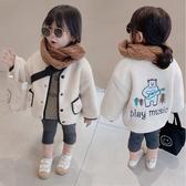 *╮小衣衫S13╭*冬季男女童吉他小熊羊羔絨黑色邊外套1081204