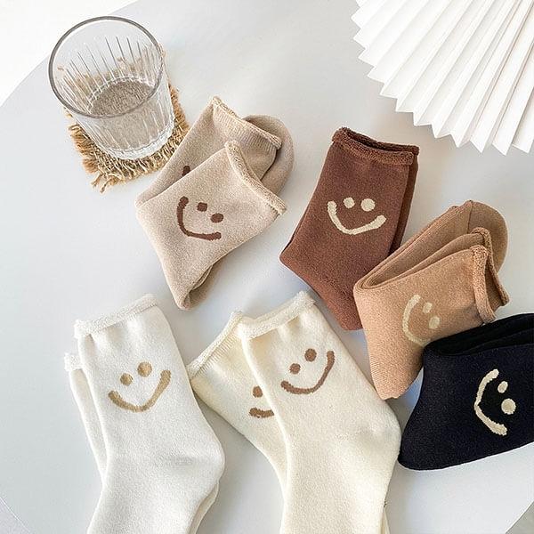 韓系笑臉加厚毛巾保暖襪 獨具衣格 H598