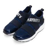 PLAYBOY 發燒話題 交叉繃帶亮蔥休閒鞋-藍
