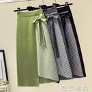 不規則條紋針織半身裙秋冬季新款韓版高腰中...