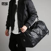 後背包 側背包 行李健身包男包皮質手提包男側背包男士休閒斜背包出差旅行袋男包 小宅女