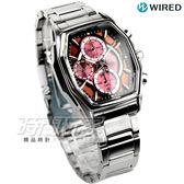 WIRED 疾風飆速太陽能計時腕錶 男錶 不銹鋼 紅 復古酒桶 AY9003X1 V176-0AJ0R