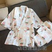 純棉睡衣春秋雙層紗布短袖日系和服
