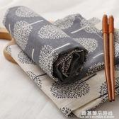 創意日式小樹圖案餐墊薄款西餐布藝餐巾布杯墊隔熱墊美食攝影道具