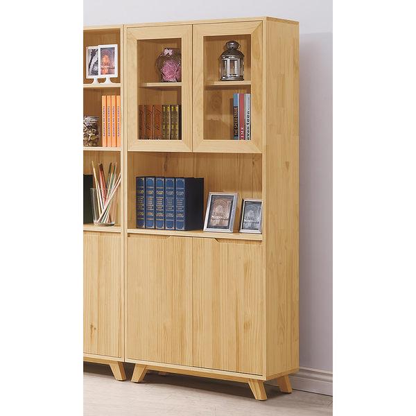 【森可家居】羅本北歐全實木2.7尺展示書櫃 7HY485-3 日系無印風 原木色 書櫥 收納櫃 MIT台灣製造