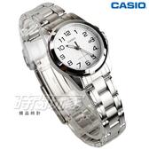 CASIO卡西歐 LTP-1215A-7B2 經典精鋼指針數字女錶 學生錶 防水手錶 不銹鋼 白 LTP-1215A-7B2DF