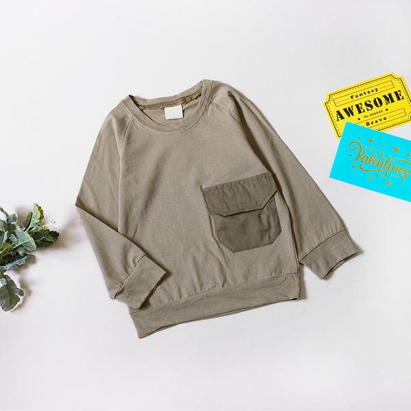 純棉 露營風口袋灰綠長袖上衣 棉質 薄長袖 男童上衣 男童長袖 男童裝 長袖 上衣 T恤 童裝