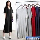 莫代爾洋裝 春裝大碼短袖連身裙女v領打底小黑裙夏季顯瘦莫代爾洋裝 城市科技