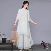 2020春秋中國風唐裝套裝茶服文藝復古雪紡連身裙禪服女唐裝女裝