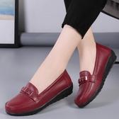 果凍豆豆鞋真皮坡跟平底單鞋軟底豆豆鞋女春鞋
