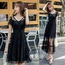 [兩穿法]V領小臉精緻蕾絲黑色短洋裝+可拆網紗長裙[98797-QF]美之札