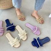 百搭平底一字拖鞋女夏季新款潮仙女風網紅珍珠羅馬鞋 - 風尚3C