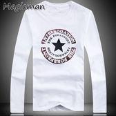 【 】男裝 印花長袖T 恤黑色2XL (R1390 )★Magic Man ★J