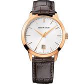 AEROWATCH 歐風雅仕經典時尚腕錶-玫瑰金框x咖啡/40mm A42972RO02