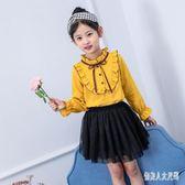 女童襯衫長袖新款女孩秋裝洋氣時尚中大童時髦打底衫上衣 zm8335『俏美人大尺碼』