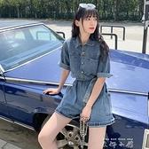 牛仔短褲女高腰2021夏季新款復古街頭時尚減齡百搭牛仔工裝連衣褲 米娜小鋪