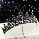 黑色奢華皇冠新娘頭飾婚紗