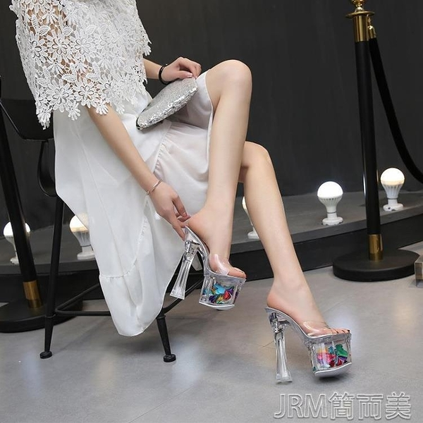 恨天高恨天高粗跟鞋女拖鞋18cm20公分超高跟性感涼拖走秀水晶透明拖鞋 快速出貨