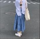 PPHOME初秋冷甜女子~韓系極簡主義慵懶感少女百搭寬鬆裙擺半身裙【快速出貨】