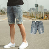 短褲 韓國製刷色小抓破挺版合身牛仔短褲【NB0477J】