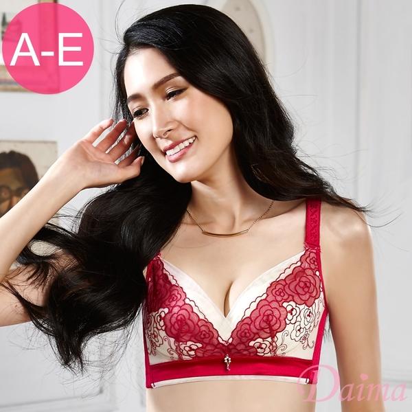 黛瑪Daima 超輕薄軟杯胸罩(A~E)玫瑰柏拉圖無鋼圈性感精美刺繡蕾絲收副乳機能內衣(玫紅)9078