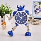 鬧鐘金屬機器人兒童鬧鐘創意學生可愛卡通個性臥室床頭靜音小鬧鐘