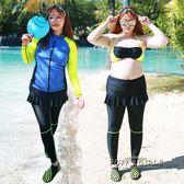 加肥加大碼女長袖分體顯瘦防曬浮潛衣水母衣潛水服拼色長褲裙泳衣   泡芙女孩輕時尚