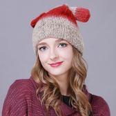 羊毛帽-甜美可愛雙耳設計女針織帽4色73id38[時尚巴黎]