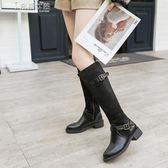 不過膝長靴女瘦瘦靴子女鞋平底騎士靴 奈斯女裝