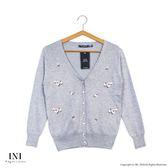 【INI】品味穿著、繡花色調百搭針織小外套.灰色