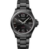 LONGINES浪琴 征服者系列V.H.P.萬年曆手錶-鍍黑/43mm L37262566