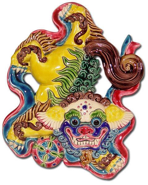 鹿港窯-居家開運商品-台灣國寶交趾陶裝飾壁飾-立體框【L 祥獅獻瑞】附精美包裝◆免運費送到家