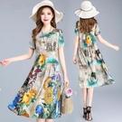 2021夏季新款雪紡洋裝/連衣裙女中長款遮肚子顯瘦寬鬆媽媽裝印花A字裙 快速出貨