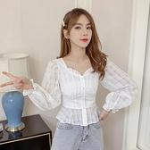 收腰上衣 雪紡襯衫女長袖2021春季新款甜美泡泡袖收腰顯瘦短款法式方領上衣 韓國時尚週